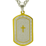 """Two-Tone Stainless-Steel """"Lord's Prayer"""" Pendant, 61cm"""