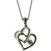 Connexions from Hallmark CZ Stainless Steel Double Heart Pendant