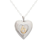 Luminesse 18kt Gold over Sterling Silver Mother and Child Locket Pendant made with .  Elements, 46cm