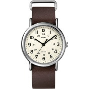 Timex Unisex Weekender Watch, Brown Leather Strap