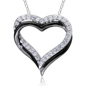5/8 Carat T.G.W. White Sapphire Sterling Silver with Black Plating Interlocking Double-Heart Pendant, 45.7cm