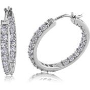 3.6 Carat T.G.W. White Sapphire Sterling Silver Hoop Earrings