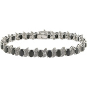 14-7/8 Carat T.G.W. Black Sapphire and Diamond Accent Sterling Silver Bracelet, 17.8cm