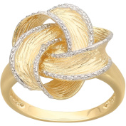 Diamond-Accent Ribbon Flower Ring in 18kt Yellow Gold over Sterling Silver, Size 7