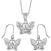 Alexandria Collection CZ Sterling Silver Butterfly Pendant and Earrings Set