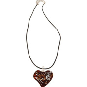 Premium Connection 290-DGHNR Premium Red Dichroic Glass Heart Necklace