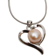 Premium Connection 290-PFPHN Premium Pink Freshwater Pearl Heart Necklace