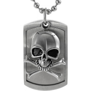 Brinley Co. Stainless Steel Moveable Skull Tag Pendant, 50.8cm