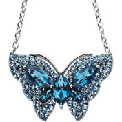Luminesse Butterfly Pendant in Sterling Silver with Blue. Elements, 45.7cm