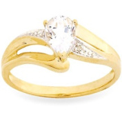 10kt Yellow Gold 7x5mm Pear-Shaped White Topaz Ring with Diamond Accents, Size 7
