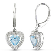2 Carat T.G.W. Blue Topaz and Diamond-Accent Heart Drop Earrings in Sterling Silver