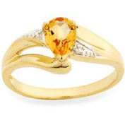 5/8 ct Natural Citrine Ring with Diamond in 10K Gold