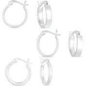 Sterling Silver Hoop Earrings, Set of 3