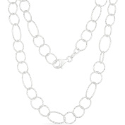 Diamond-Cut Sterling Silver Link Chain Necklace, 61cm