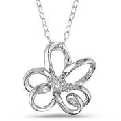 Diamond-Accent Sterling Silver Flower Pendant, 45.7cm