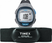 Timex Unisex Personal Trainer Analogue HRM Grey/Blue Resin Watch with Chest Strap Sensor