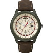 Timex Men's Expedition Camper Green Case Watch, Brown Leather Strap