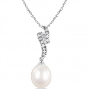 """9-9.5 mm White Freshwater Pearl and Diamond-Accent Fashion Pendant with Sterling Silver Chain, 18"""""""