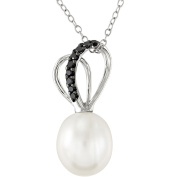 Sterling Silver 9.5-10mm White Cultured Freshwater Pearl and 1/10 Carat T.W. Black Diamond Fashion Pendant