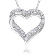 5/8 Carat T.G.W. White Sapphire Sterling Silver Interlocking Double-Heart Pendant, 45.7cm