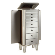 Powell Mirrored Wooden Jewellery Armoire, Silver