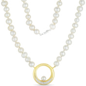"""5mm Cultured Freshwater Pearl Strand with Diamond-Accent 18kt Gold-Plated Pendant, 18"""""""