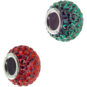 Connexions from Hallmark Stainless Steel Green Crystal and Red Crystal Charm Set