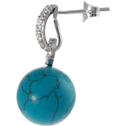 Alexandria Collection Created Turquoise CZ Sterling Silver Beaded Drop Earrings