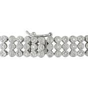 Miabella 1 Carat T.W. Diamond Sterling Silver Three-Row Tennis Bracelet, 19cm