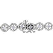 Miabella 1 Carat T.W. Diamond Sterling Silver Halo Tennis Bracelet, 18cm