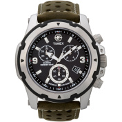 Timex Men's Expedition Rugged Field Chronograph Watch, Green Leather Strap