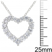 1-5/8 Carat T.G.W. Created White Sapphire Sterling Silver Heart Pendant, 45.7cm