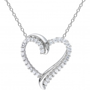 3/4 Carat T.G.W. Created White Sapphire Sterling Silver Heart Pendant, 45.7cm