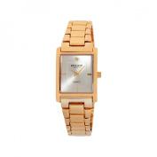 Pierre Cardin Women's Gold-Tone Rectangular Diamond Accent Dial Watch