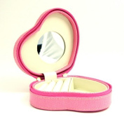 Small Heart Shaped Pink Leather Jewellery Box - 5W x 1.75H in.