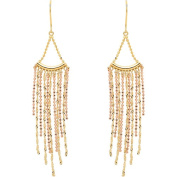 18kt Yellow Gold over Sterling Silver Bead Fringe Drop Earrings