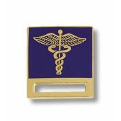 Prestige Medical Caduceus on Blue Background Cloisonne Badge Tac