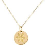 Simply Gold 14kt Yellow Gold Small Disc with Flower Pendant, 45.7cm