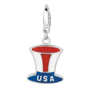 EZ Charms Sterling Silver USA Top Hat Charm