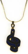 Harmony Jewellery G Clef Necklace in Gold and Blue