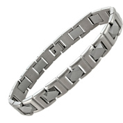 Men's Stainless Steel and Tungsten Link Bracelet, 21.6cm