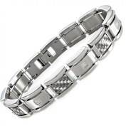 Men's Diamond Accent Stainless Steel and Grey Carbon Fibre Bracelet, 21.6cm