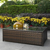 Modern Marketing CO7201-BR Palm Harbor Outdoor Wicker Glass Top Table