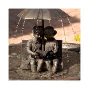 Smart Solar Umbrella Series Boy and Girl Reading on a Bench Solar Fountain