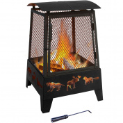 Landmann USA 25319 HAYWOOD FIREPLACE with taller sidewall Wildlife cutouts Black sandpaint Matte Blk screen 26370 poker included