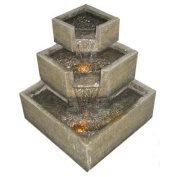 Smart Solar Cascadia Falls Electric Corner Fountain with LEDs