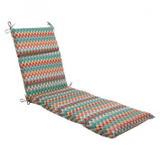 Pillow Perfect 505541 Outdoor Nivala Chaise Lounge Cushion in Blue - Red-Turquoise-Yellow-Aqua Blue