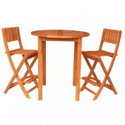 Whitewood Round Bar Height Patio Table with 2 Folding Stools