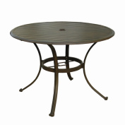 Panama Jack Island Breeze Slatted Aluminium 106.7cm . Round Patio Dining Table with Umbrella Hole - Espresso