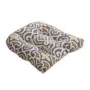 Pillow Perfect 475110 Damask Chair Cushion - Gray-Greenish-Yellow